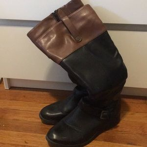 Shoes - Tall black boots with brown trim
